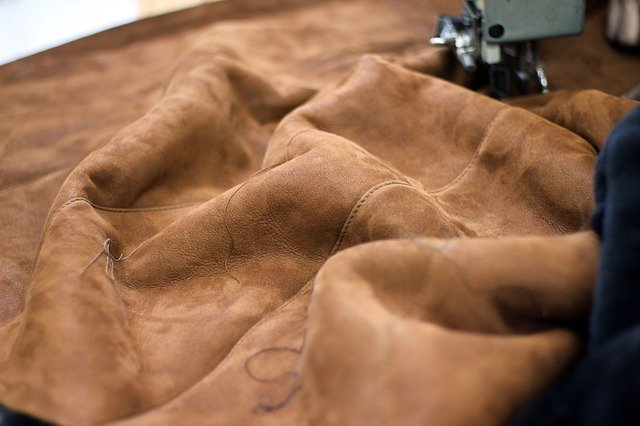 leather suede being sewn