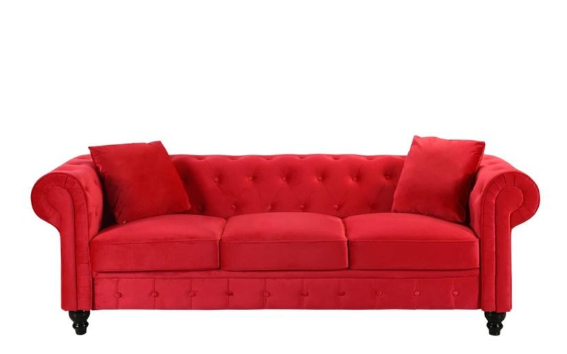 Royal Victorian-Style Velvet Chesterfield Sofa Red