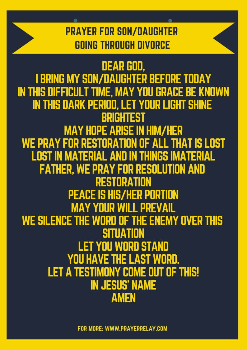 PRAYER FOR SON/DAUGHTER GOING THROUGH DIVORCE