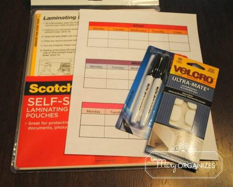 Materials needed to create schedule sheet