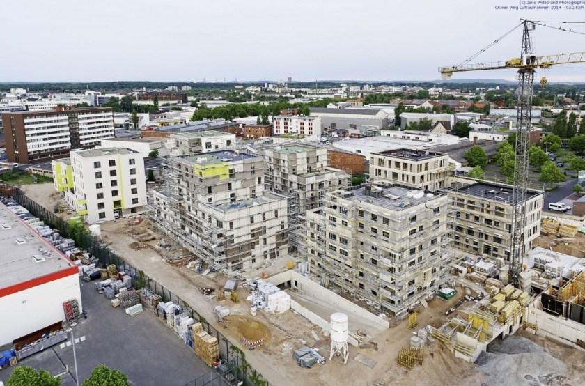 BN-Massivhaus, Köln-Ehrenfeld, Grüner Weg Luftaufnahme Jens Willebrand 2014