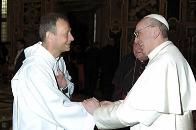 Frère Alois (prieur de Taizé) avec pape François