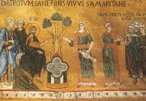 Jésus au puits avec la Samaritaine « aux cinq maris ».