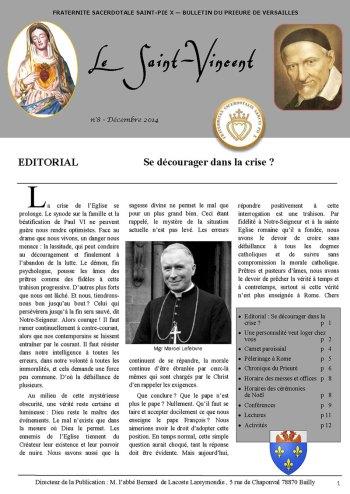"""1ère Page du bulletin """"Le Saint Vincent N°8, décembre 2014"""