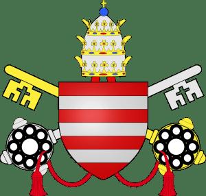 Armoiries du pape Paul IV : de gueules aux trois fasces d'argent