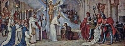 Frère Martin Ladvenu communie Jeanne dans sa prison