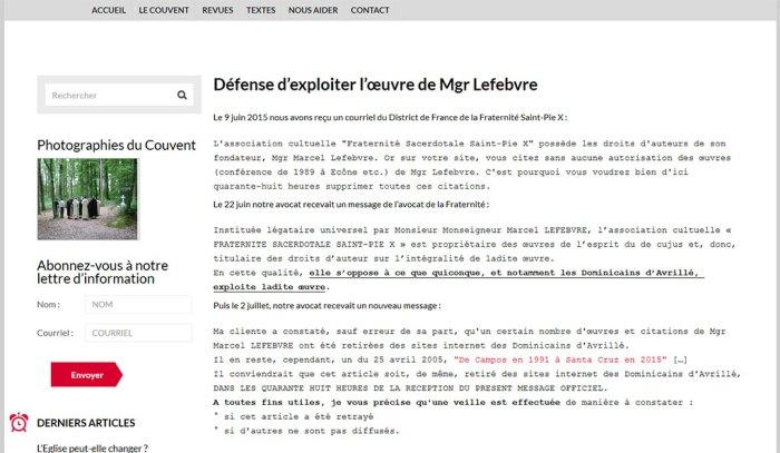 Défense d'exploiter l'œuvre de Mgr Lefebvre