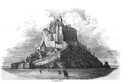 Le mont Saint-Michel, lithographie de 1842.