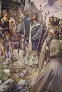 Columba frappant à la porte de Brude