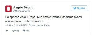 Tweet d'Angelo Becciu