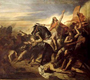 Bataille de Tolbiac en 496 peint par Ary Scheffer (1795 - 1858). Versailles, musée national du Château et des Trianons.