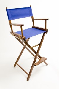 """30"""" Contemporary Series Chair - Walnut with Royal Blue Canvas"""