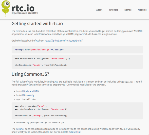 Using rtc.io rtc JS library