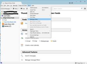 Thunderbird RSS Message Filters Menu Item