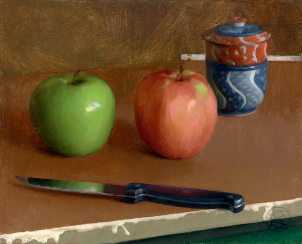 On Art and Inspiration. Apples, oil painting by Kate Sammons