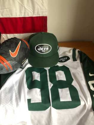 Lehigh student Cole Kirst gets his football gear ready for Sunday NFL football on Sept. 27. Cole is a big Jets fan and enjoys watching football with his buddies on Sundays in Bethlehem, Pennsylvania.