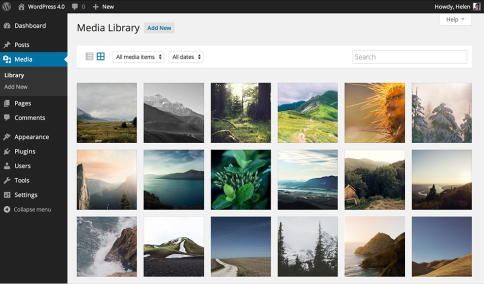 WordPress 4.0 Media Library