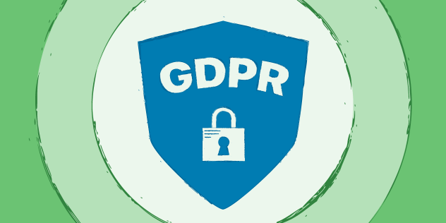 "A decorative header featuring the text ""GDPR"" and a lock inside of a blue shield, on multicolor green background."