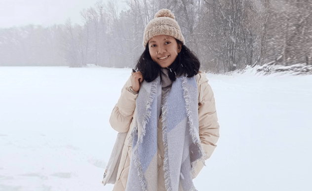 Fike pictured with a snow background