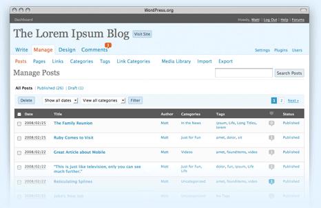 Screenshot von der Oberfläche bei WordPress 2.5