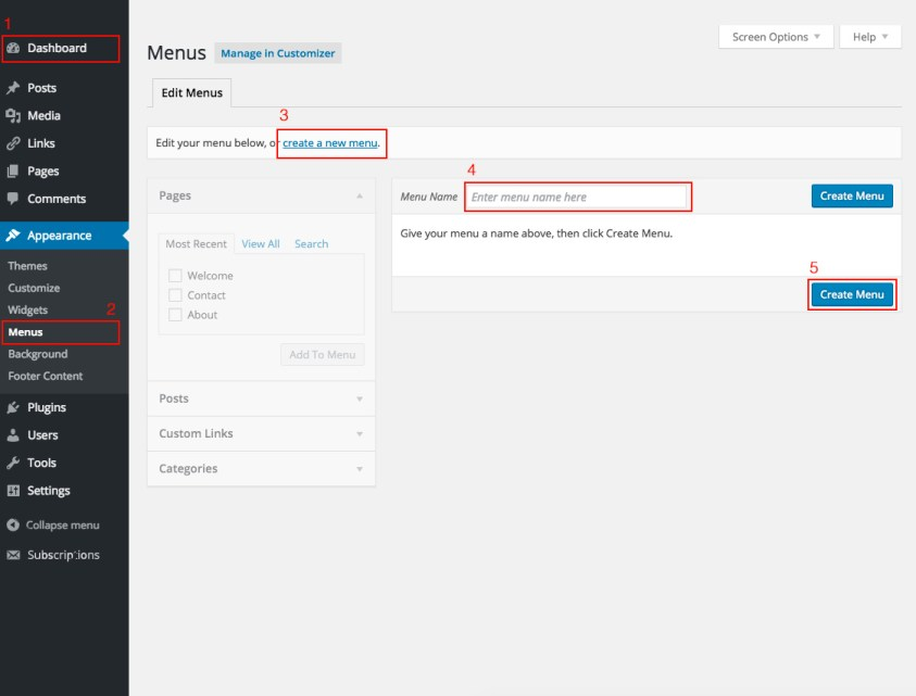 Appearance Menus Screen | WordPress org
