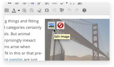 Selecting the edit image option whenever hovering over an image