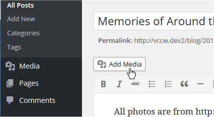 Clicking the add media button above editor