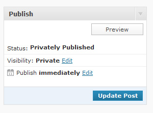 Publish metabox with visibility set to private