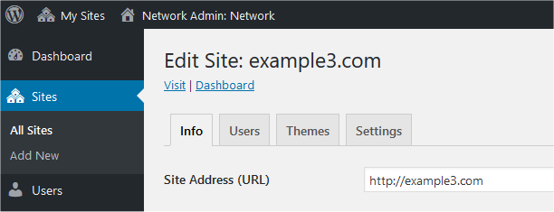 Administration managing sites screen