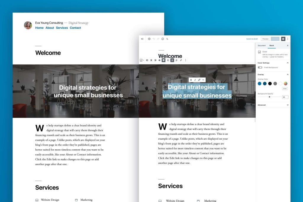 WordPress Twenty Nineteen Theme Preview