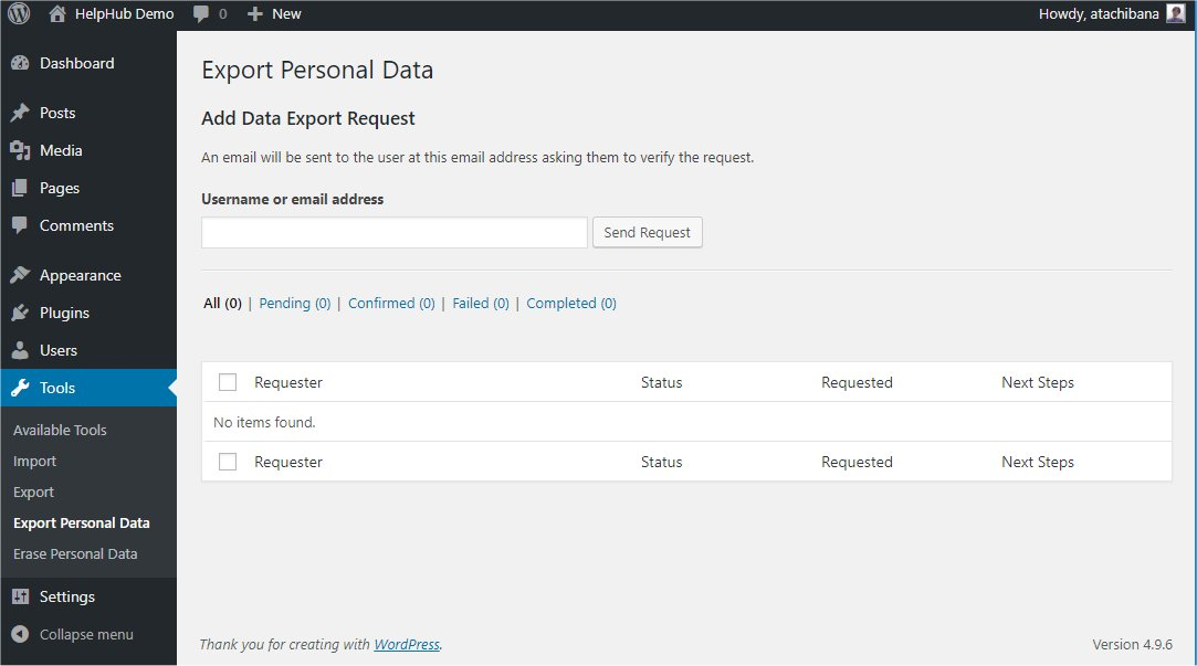 Tools Export Personal Data Screen | WordPress org