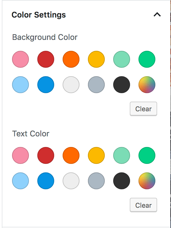 Block Button Color Settings Tab