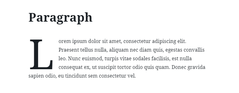 Adding a dropcap letter to a paragraph block.