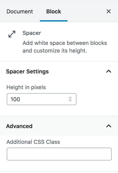 Spacer Block Settings Panel