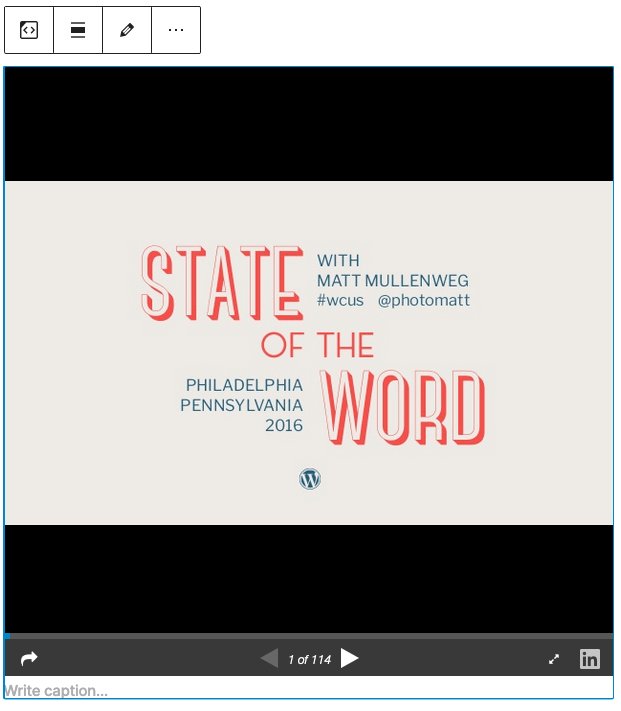 Example of a slideshare in the editor