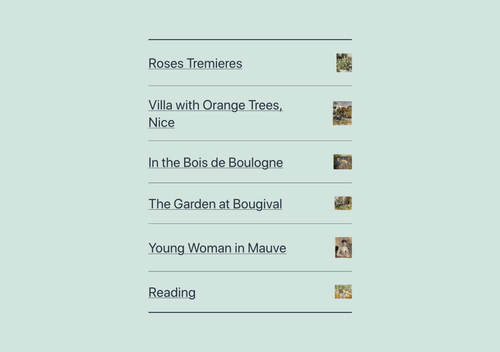 The portfolio list pattern has a vertical list of links and miniature images. The image is displayed to the right of the link text. Each portfolio item is separated by a bottom border.