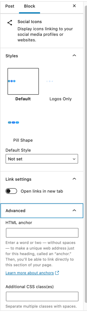 A screenshot of the sidebar for all icons.