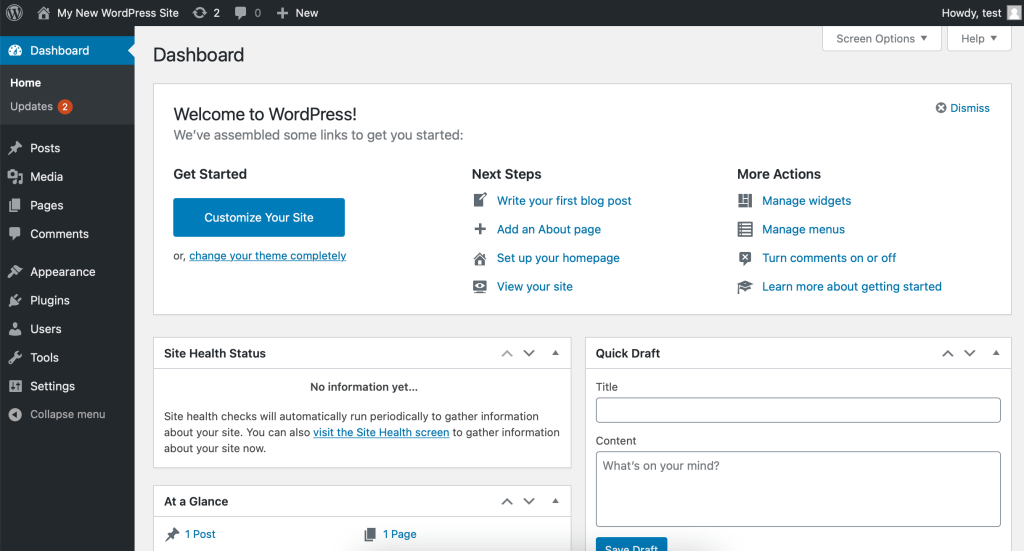 Dashboard ‹ Your Website — WordPress