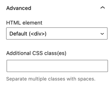 Image showing the option to assign an HTML element and add CSS classes to the Query Loop block.