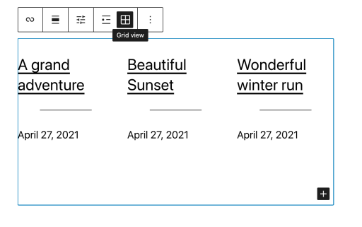 Image showing posts in a grid using the Grid View option in the block toolbar settings.