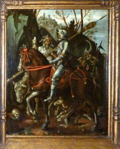 """Unbekannter Künstler, um 1600, Gemäldekopie von Dürers Kupferstich """"Der Reiter"""""""