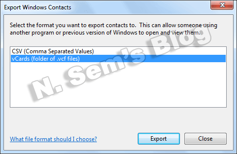 export contacts to VCF (step-2)