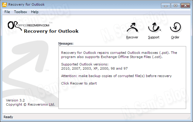 Outlook Repair tool from OfficeRecovery