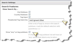 Pro Pack Tag Search Pulldown Settings