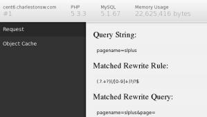 debug bar default output on page request