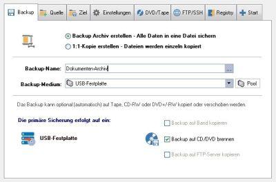 Z-DBackup Backup Setup für die Datenarchivierung auf M-Disk
