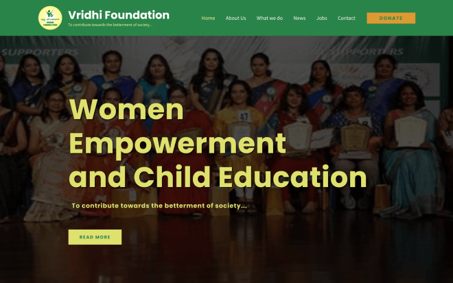 A screenshot of the Vridhi Foundation website created by the do_action Karnataka 2021 team.