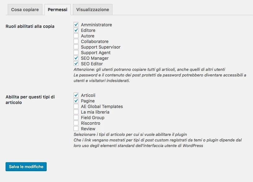 Duplicare una pagina - Impostazioni: Permessi