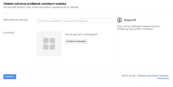 Címsor és kép a Google+ Brand oldaladhoz