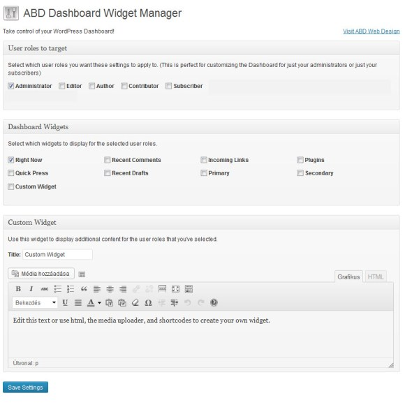 ABD Dashboard Widget Manager